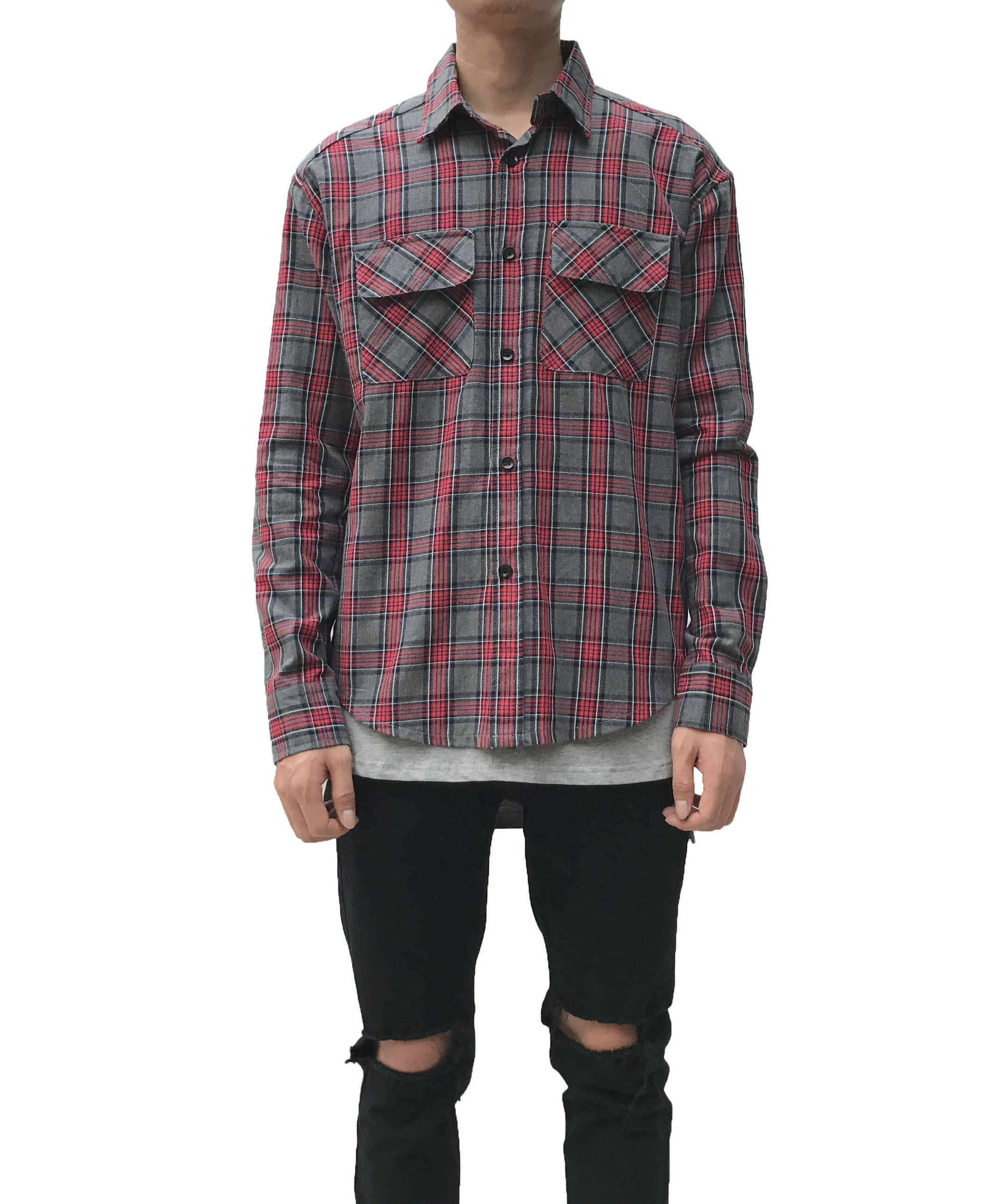 Long Sleeve Flannel Shirt - Grey