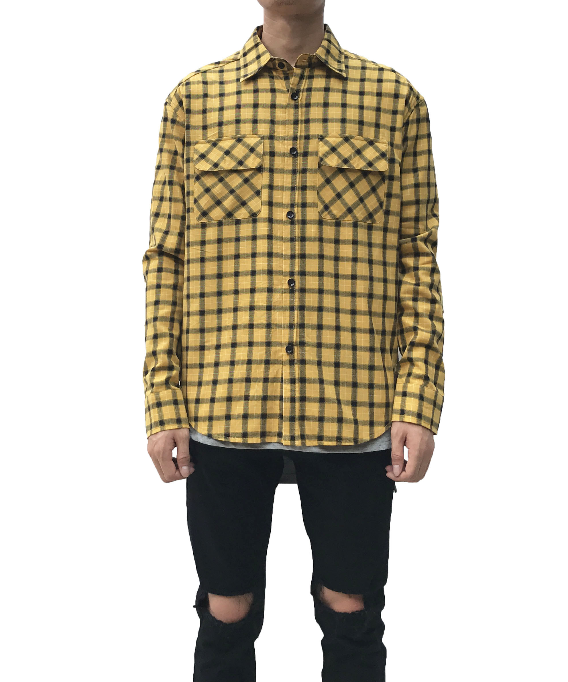 Long Sleeve Flannel Shirt - Yellow