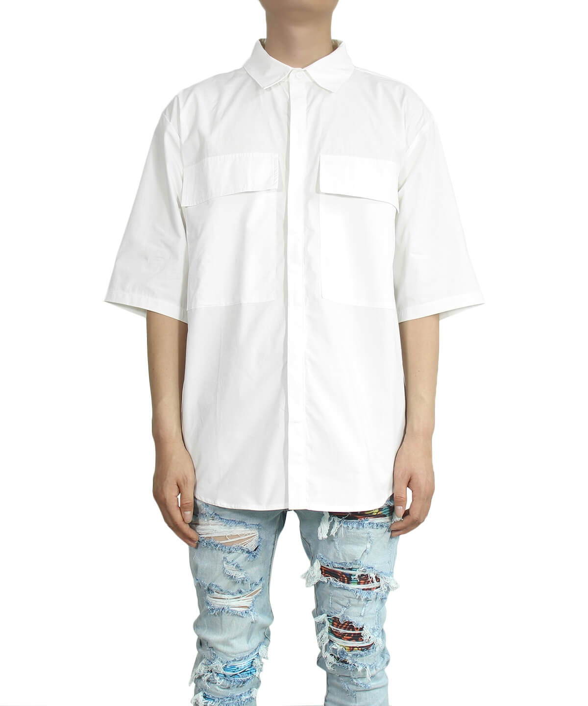 Covered Button Placket Shirt - White