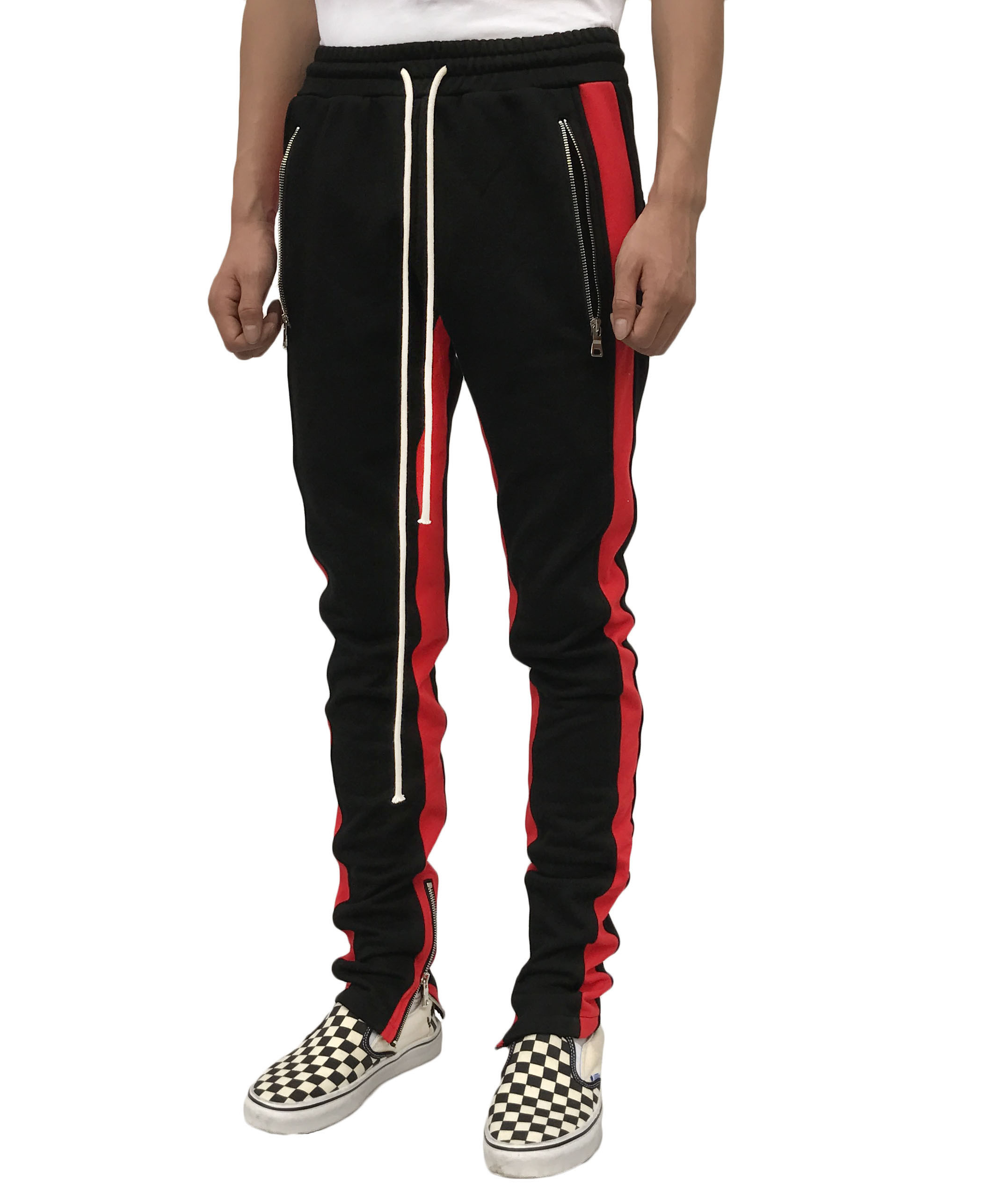 Double Striped Track Pant-Red Stripe