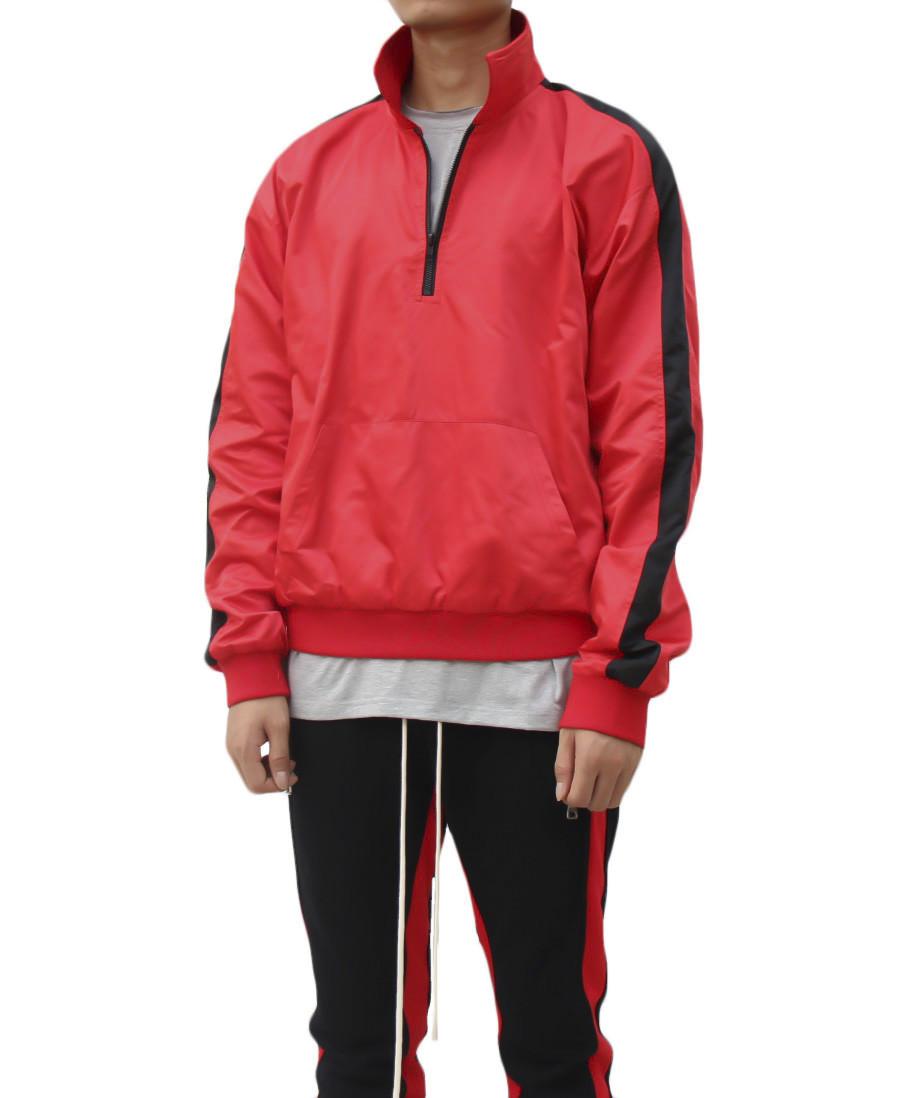Satin Track Jacket- Red