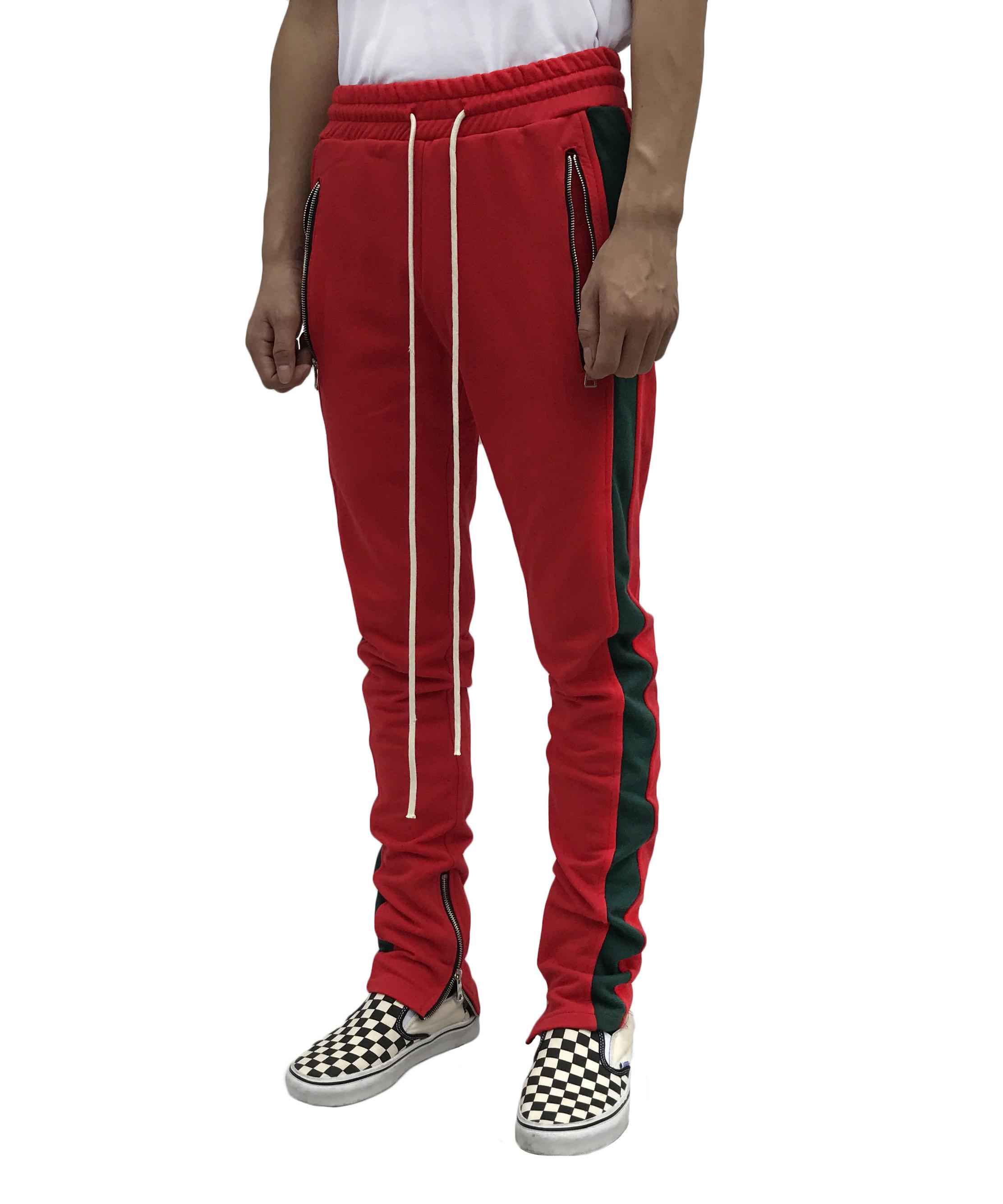 Red Track pants - Dark Green Stripe