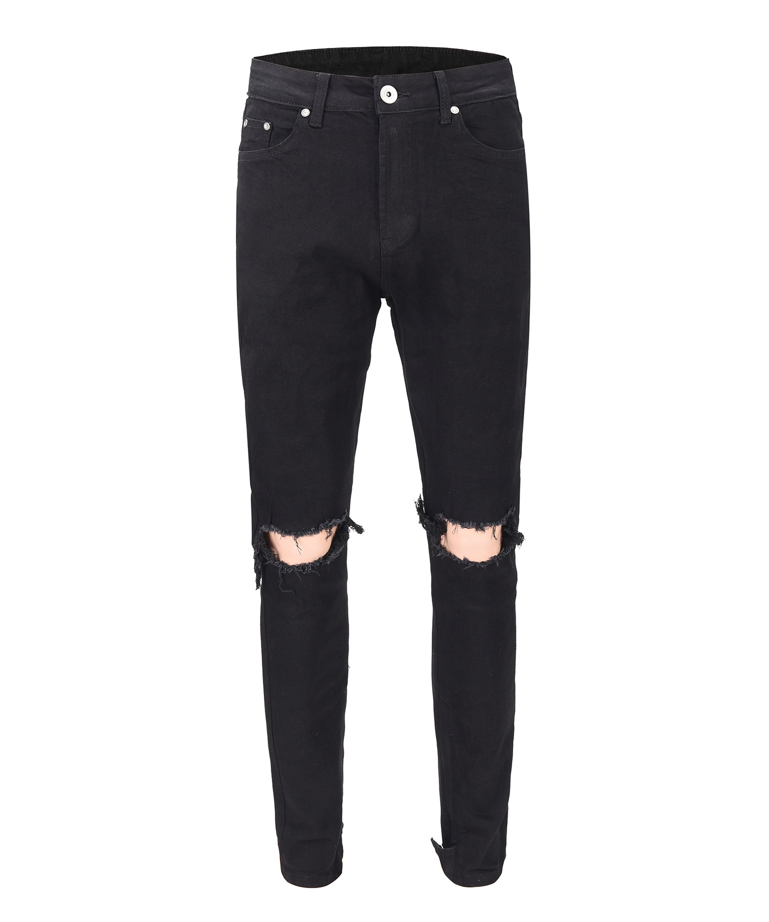 Ankle Zip Destroyed Jeans V2 - Black