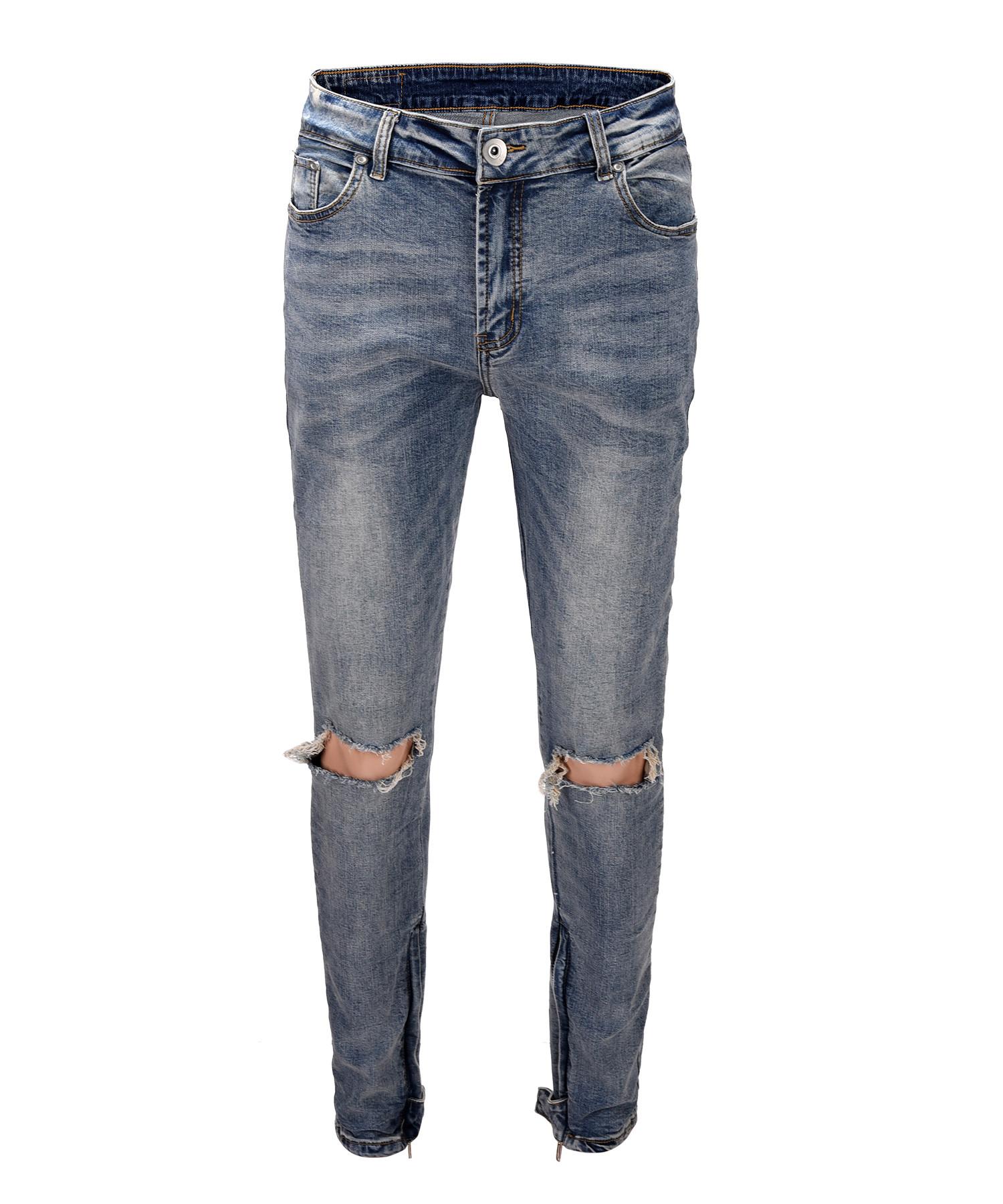 Ankle Zipper Destroyed Jeans V2 - Blue