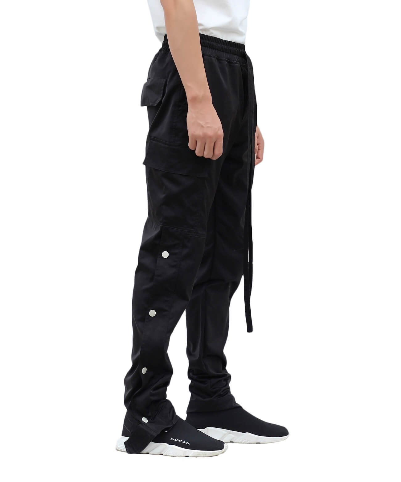 Nylon Snap Cargo Pants - Black