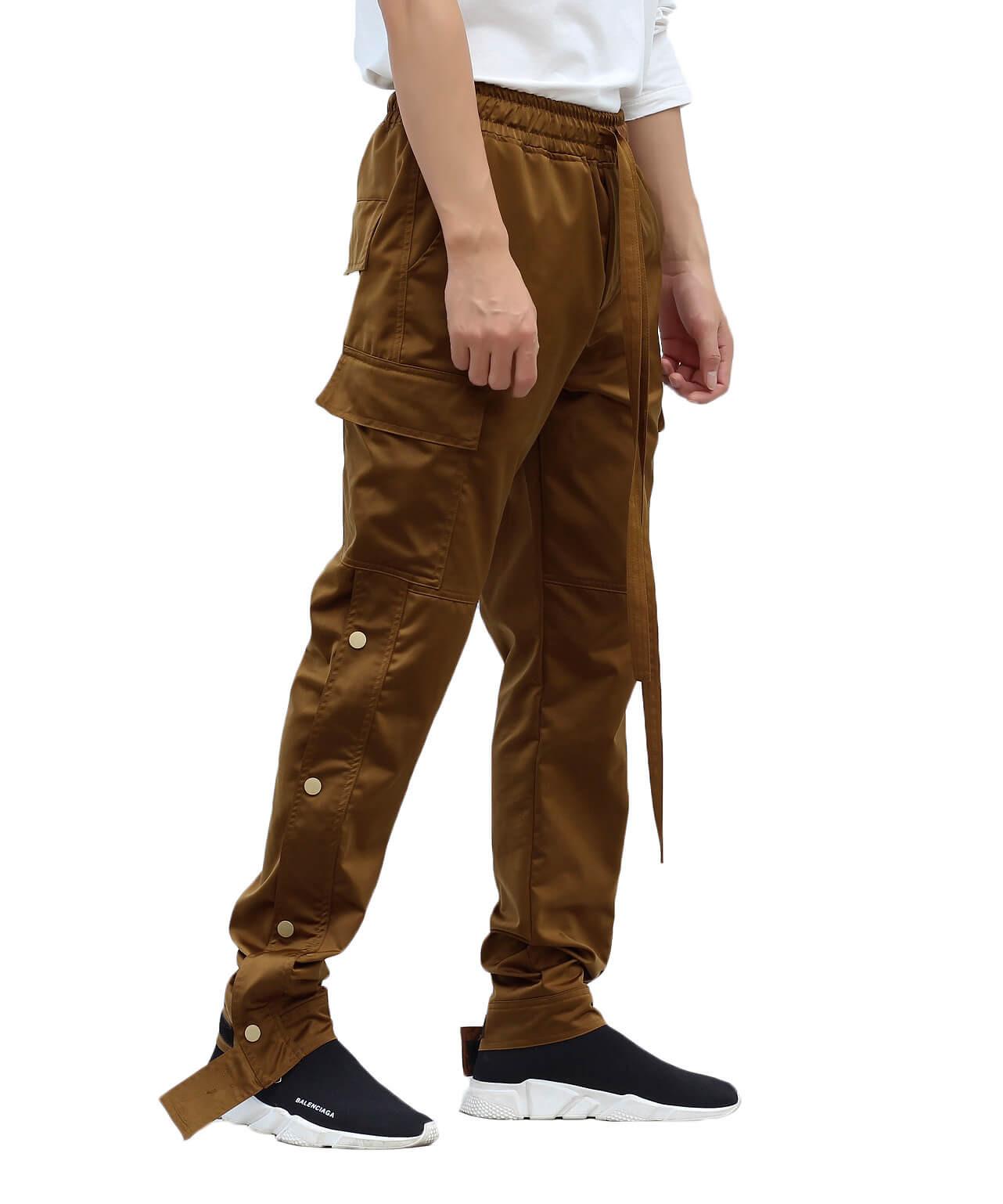 Nylon Snap Cargo Pants - Brown