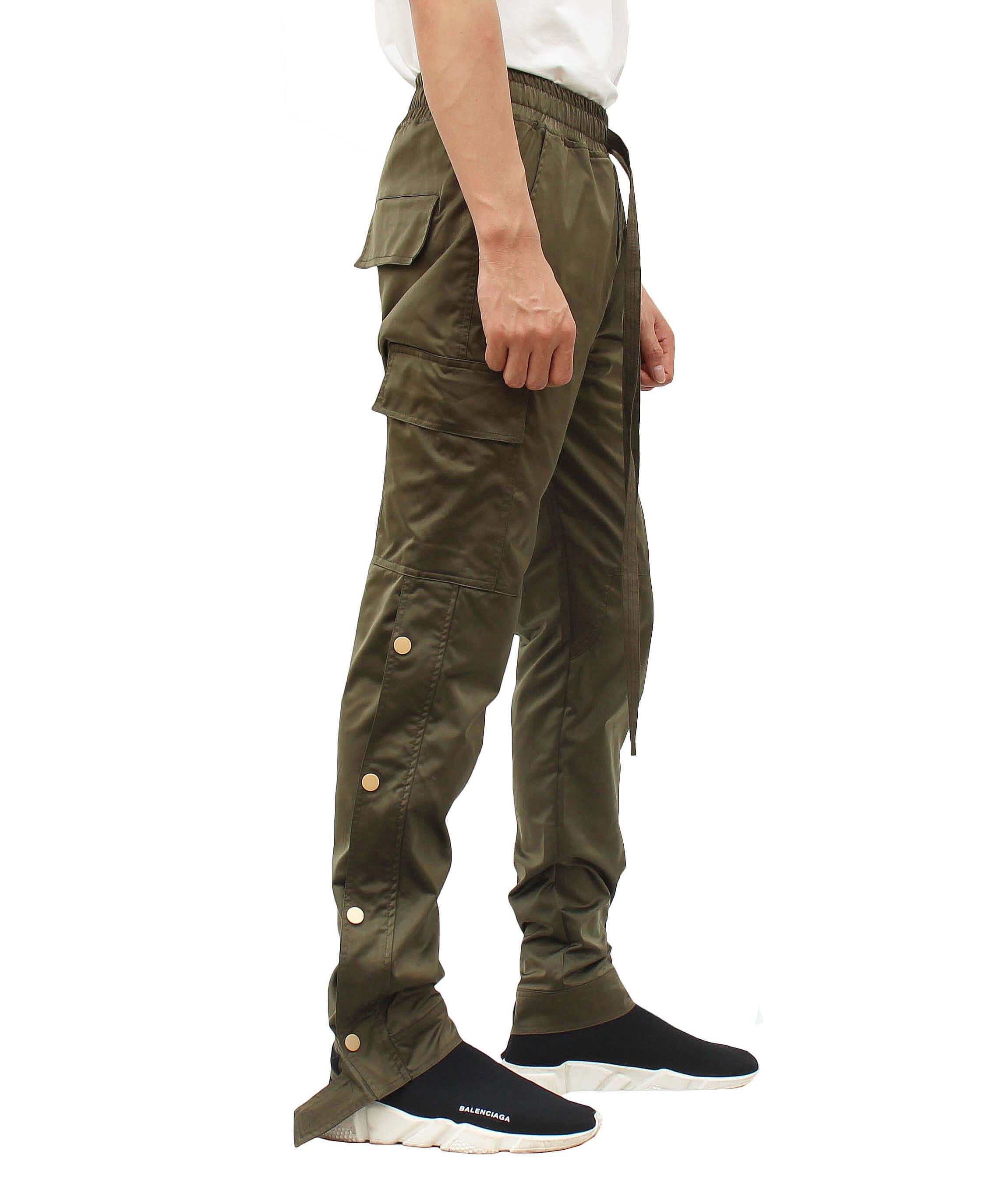 Nylon Cargo Snap Pants - Olive