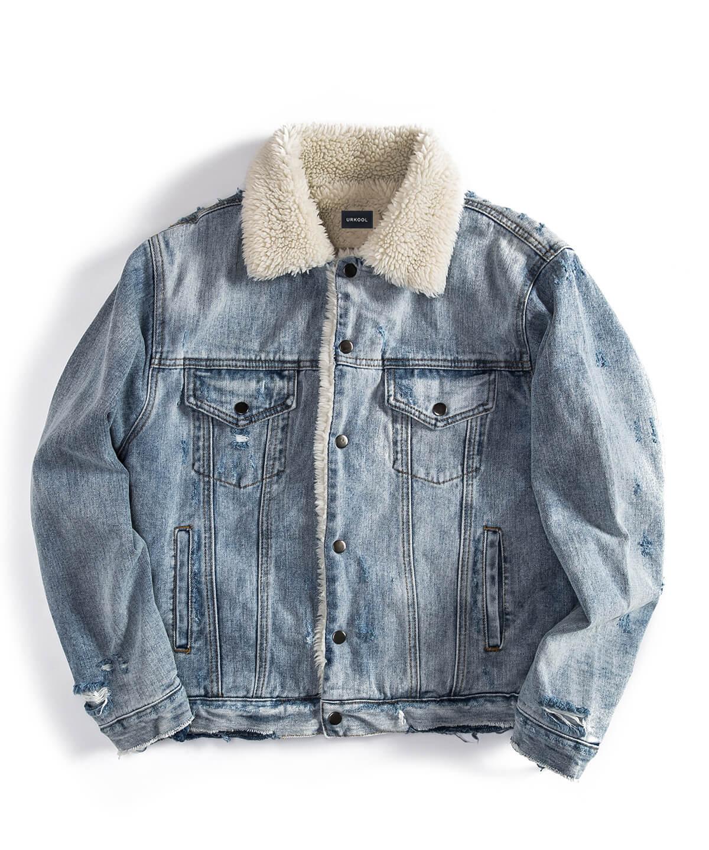 Destroyed Sherpa Denim Jacket