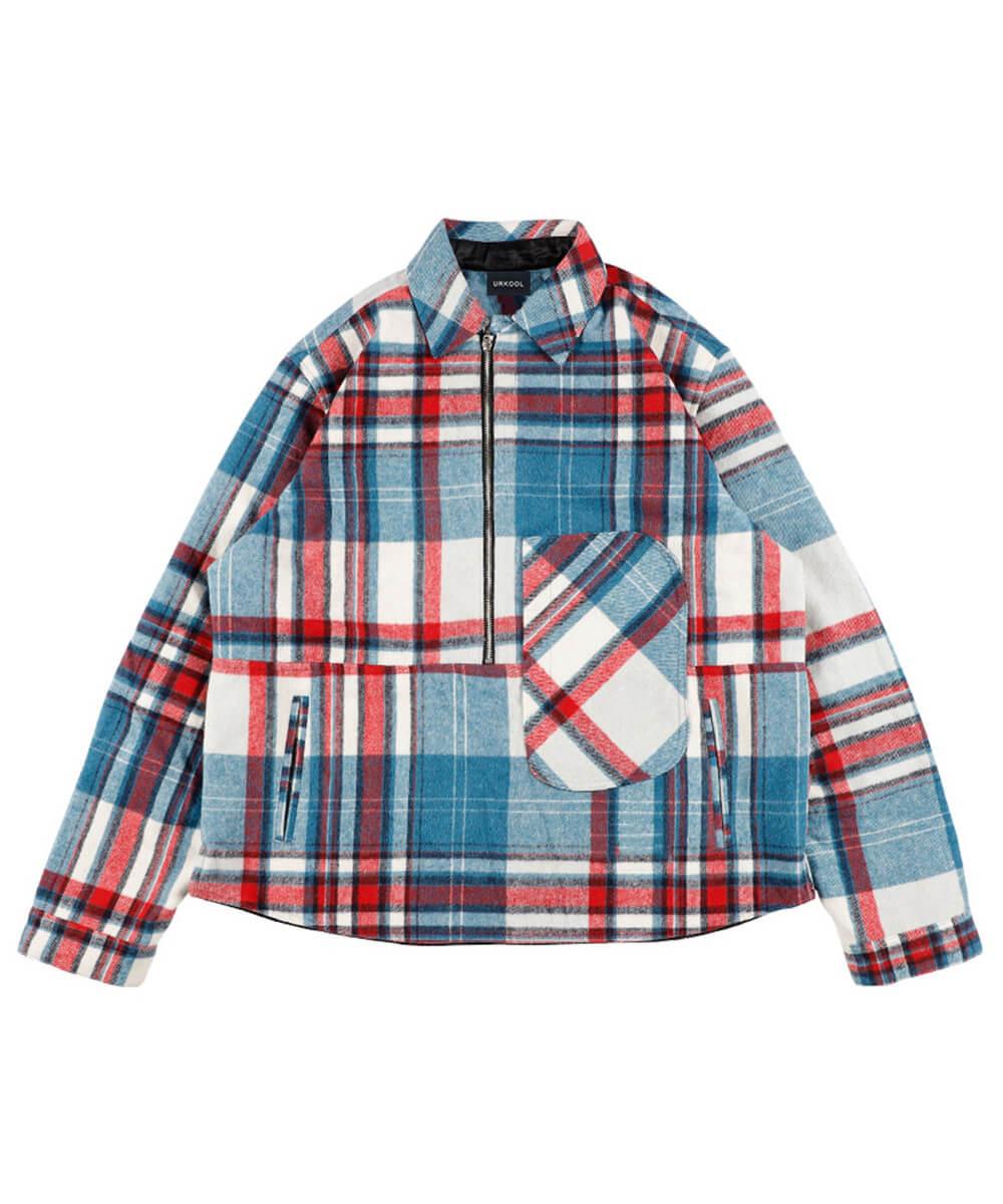 Half Zip Flannel Shirt Jacket