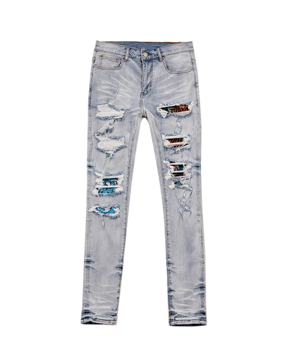 Art Patch Biker Jeans - Light Blue