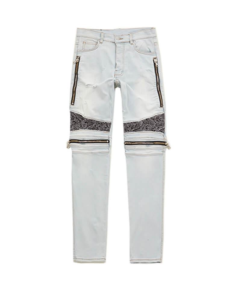 Bandana Zipper Biker Jeans