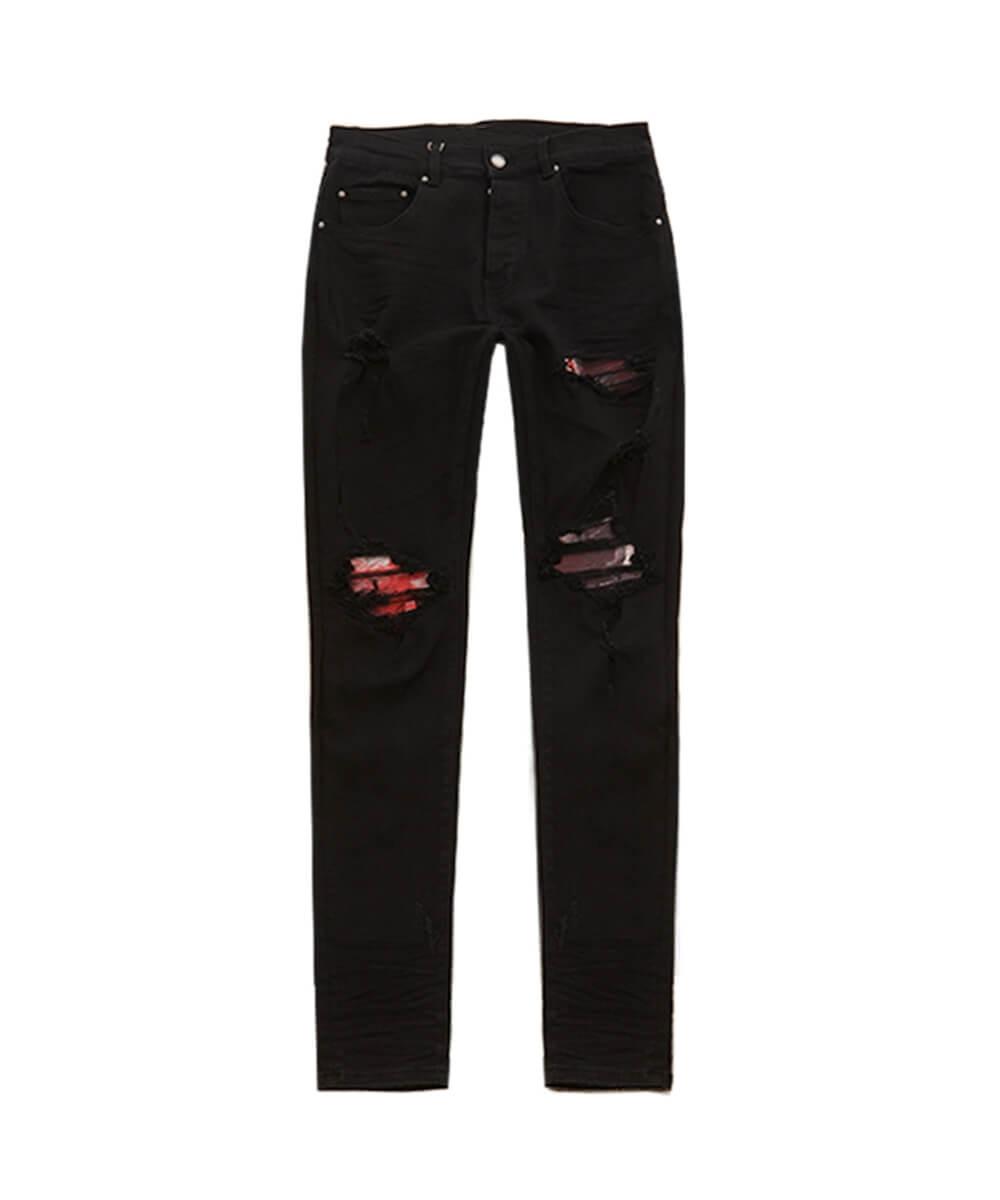 Plaid Biker Jeans