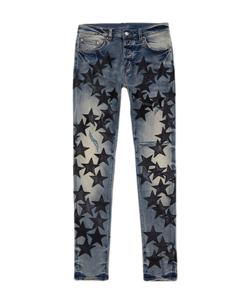 Leather Star Ripped Jeans - Blue