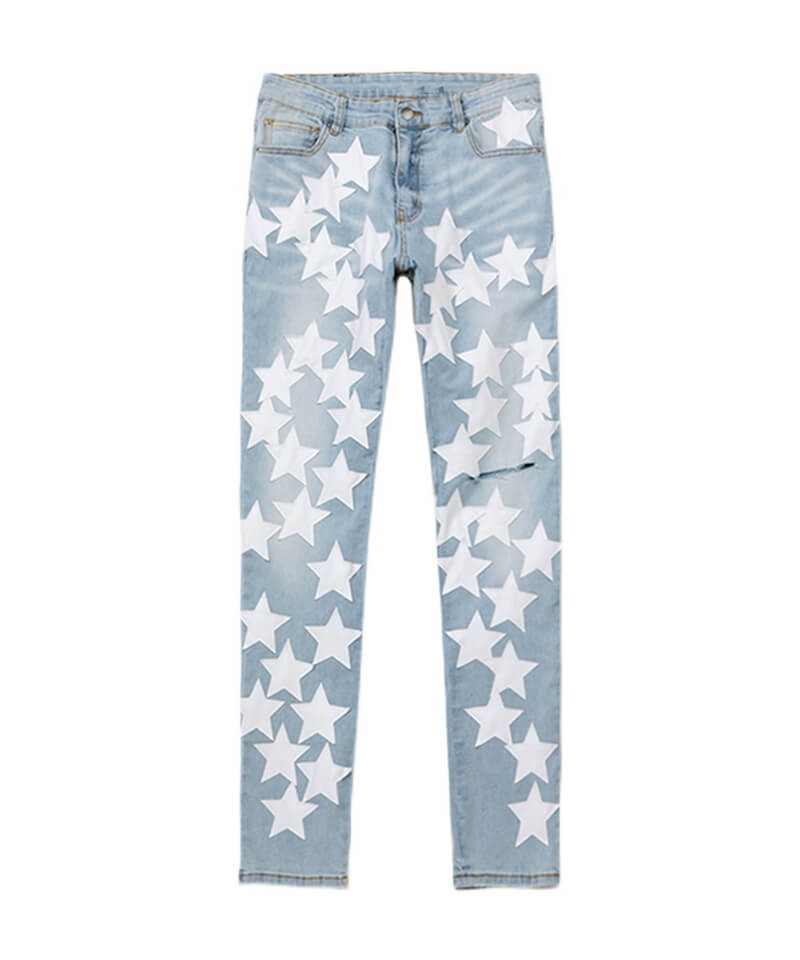 White Leather Star Jeans