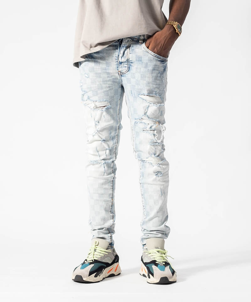 Checkerboard Ripped Jeans