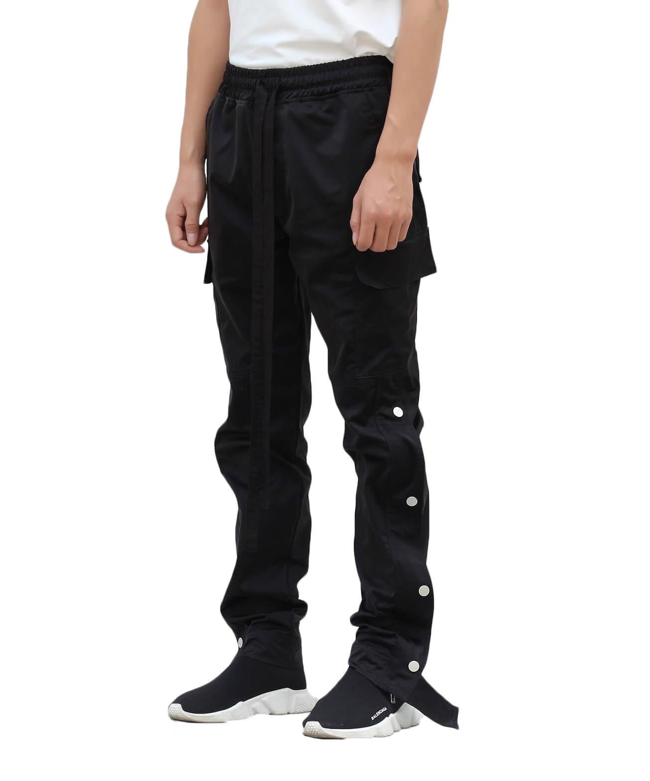Nylon Snap Cargo Pants Black Urkoolwear