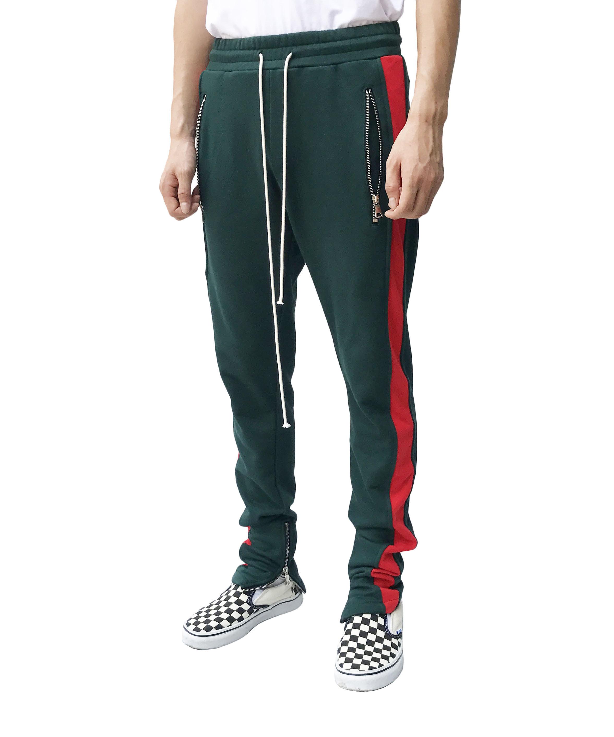 Dark Green Track Pant - Red Panel