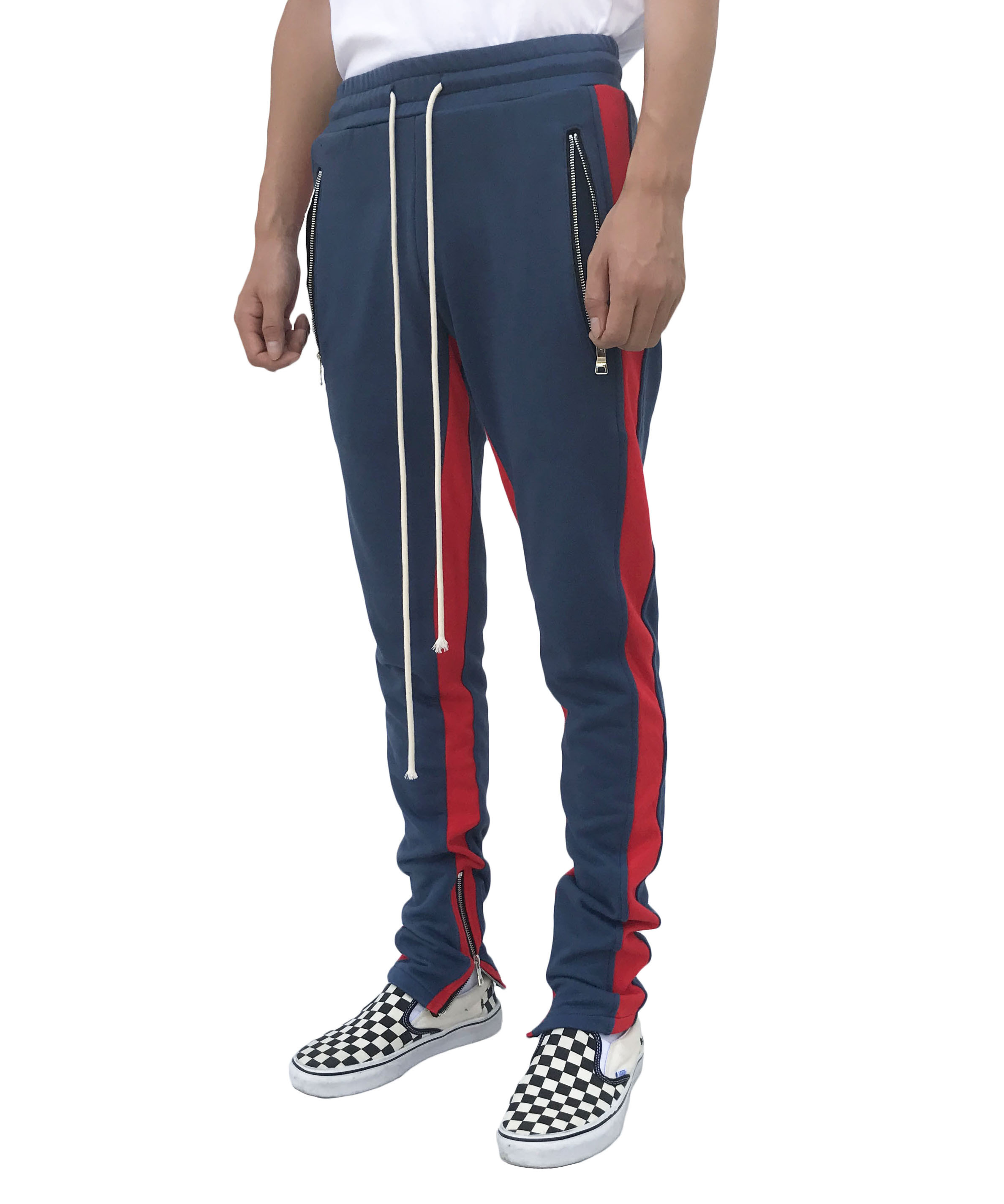 Double Striped Track Pant - Navy/Red