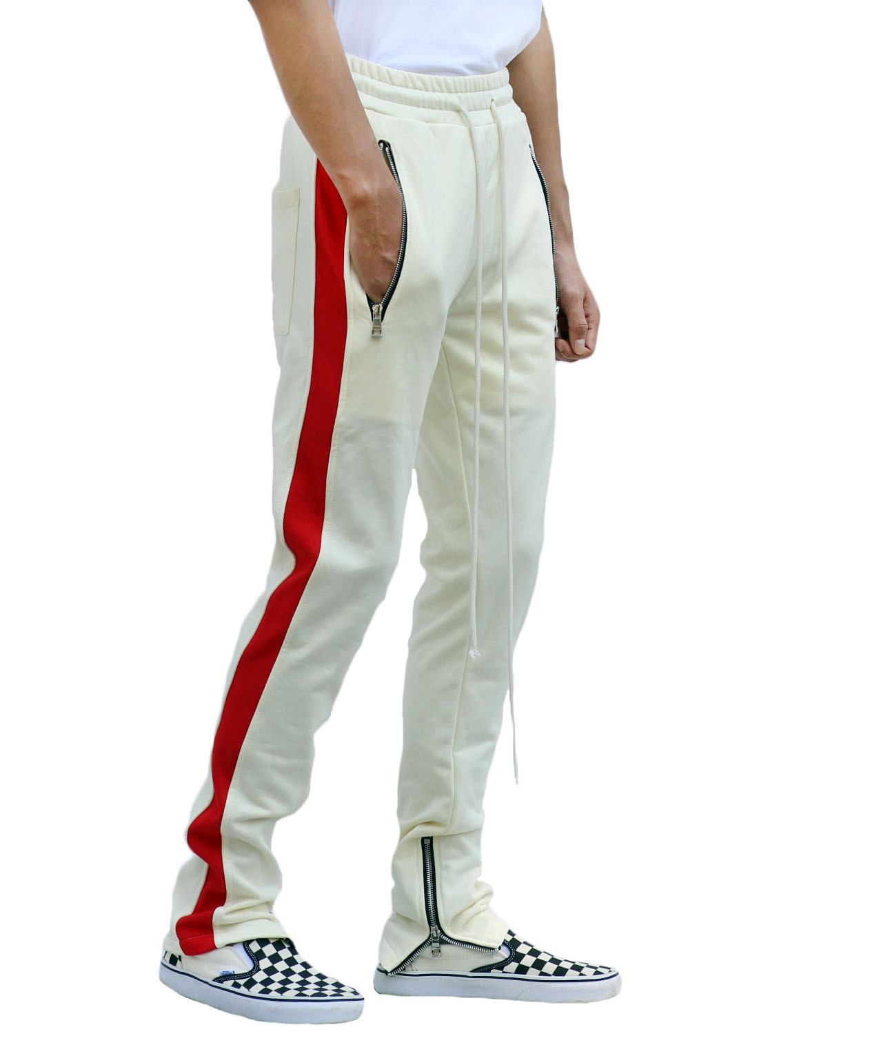 Beige Track Pants - Red Stripe