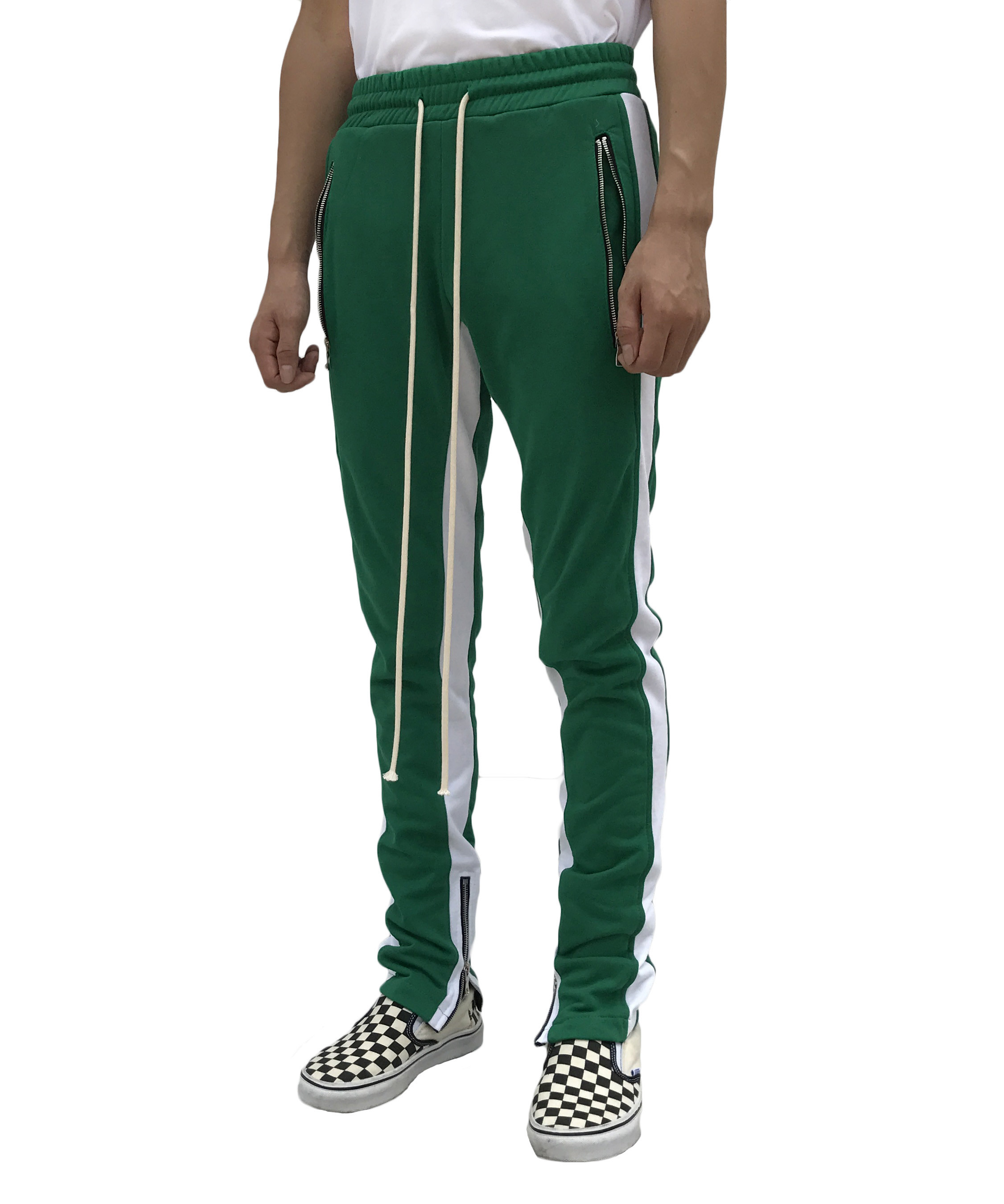 Double Striped Track Pants - Green