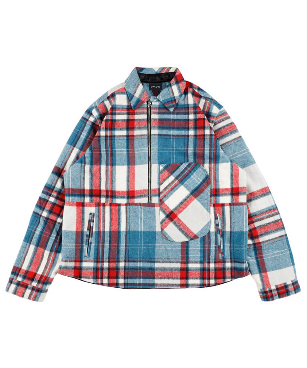 Half Zip Flannel Shirt Jacket