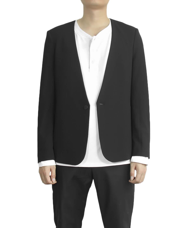 Single Breasted Lapelless Jacket