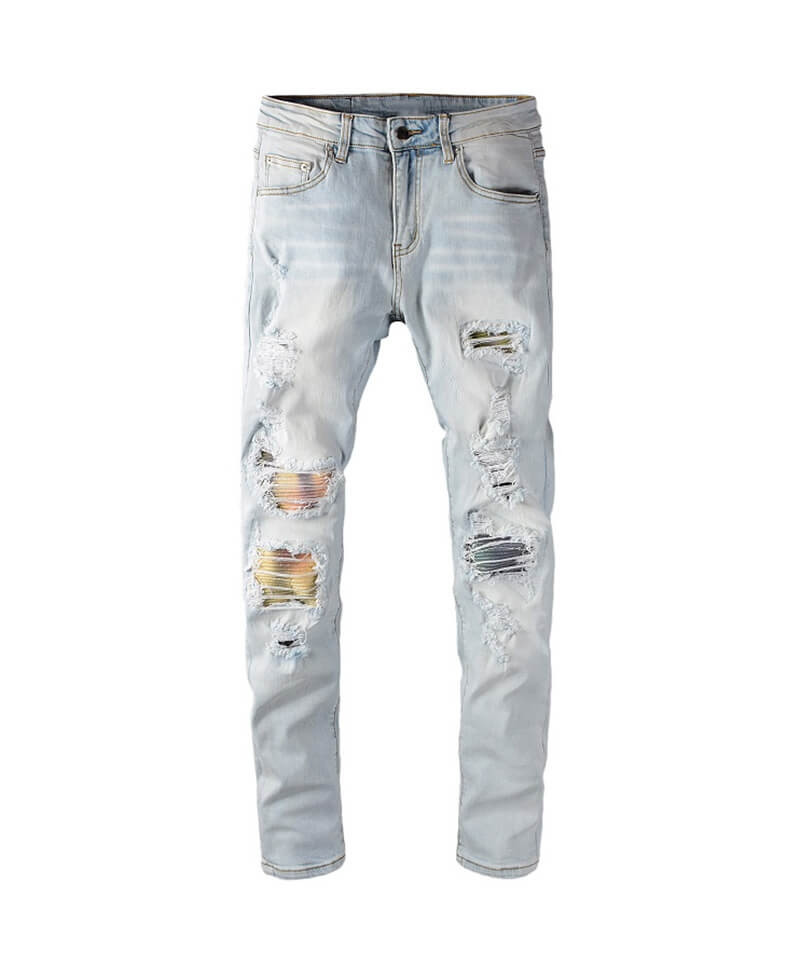 Colorful Patch Jeans - Blue
